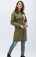 Женское пальто с отделкой из эко-кожи