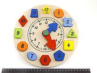 Деревянная игрушка досточка Часы Сортер