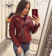 Куртка-косуха  из эко-кожи (бордовая), фото 1