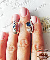 Серебряные серьги с золотом и фианитами, фото 1