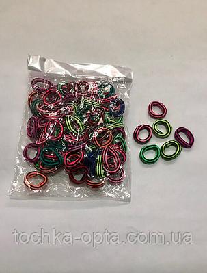 Резинки для волос в полоску цветные в уп 100шт диаметр 2см