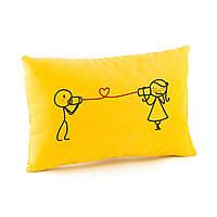 Подушка для влюбленных прямоугольная «Связь» жёлтый флок_склад