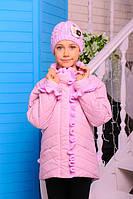 Куртка Одри розовая хлопковое лаке утеплитель силикон 100 демисезон шапка в комплекте 122, 128, 134, 140,146см