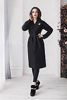 Стильное женское весеннее пальто из кашемира черное