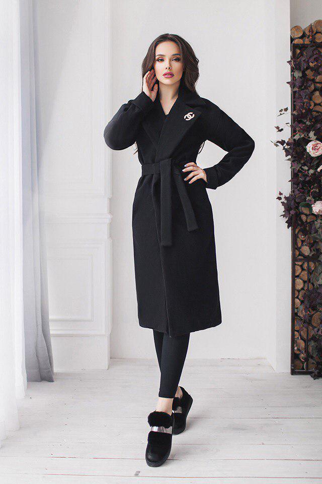 87295951021 Стильное женское весеннее пальто из кашемира черное - Стильная женская  одежда оптом