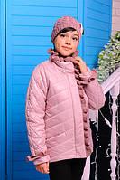 Куртка Одри пудра хлопковое лаке утеплитель силикон 100 демисезон шапка в комплекте 122, 128, 134, 140,146см
