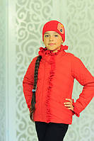 Куртка Одри красная хлопковое лаке утеплитель силикон 100 демисезон шапка в комплекте 122, 128, 134см
