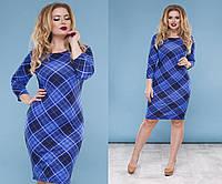 Трикотажное платье большого размера в принт шотландка