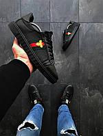 Мужские кеды Gucci Ace Embroidered Sneaker Black, Копия, фото 1