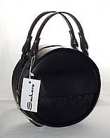 Женская, стильная, круглая сумка с мехом пони ( код: IBG086B1 ), фото 1