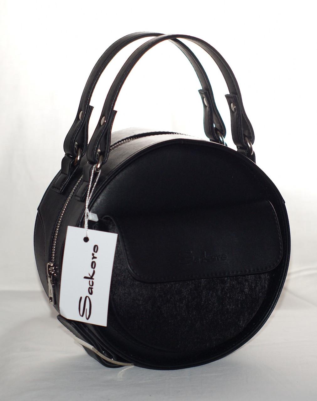 Женская, стильная, круглая сумка с мехом пони, фото 1