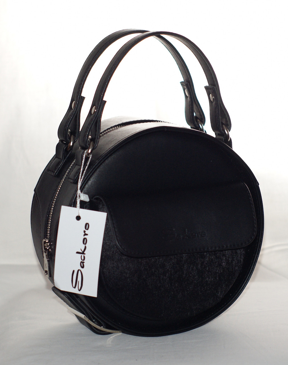 Женская, стильная, круглая сумка с мехом пони