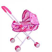 Детская коляска для куклы 0354 с металлическим каркасом и двойными колесами: 3 цвета