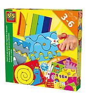 Набор для творчества УЧУСЬ ВЫРЕЗАТЬ 16 картинок для игры, безопасные детские ножницы Ses (14809S)