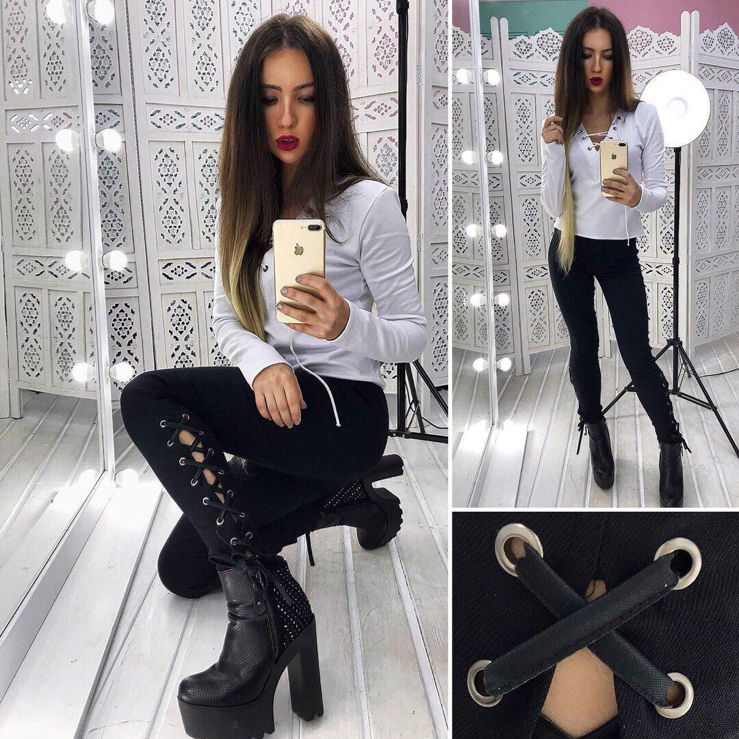 e9644e8baba Модный костюм джинсы со шнуровкой+ кофточка в расцветках АМН-1802.009(1) -
