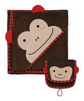 Банный набор: полотенце и мочалка-варежка-игрушка Skip Hop Zoo Hooded Towel и Zoo Mitt