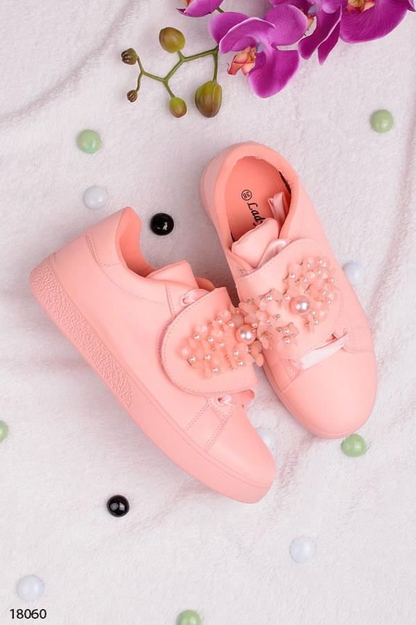 Женские кеды с камнями розовые- пудра на липучке (со шнуровкой) эко-кожа