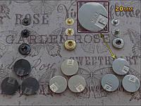 Кнопка АЛЬФА (курточная) 068 размер 20мм цвет никель, золото, тёмный никель