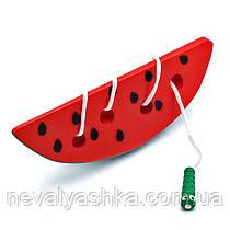 Деревянная игрушка Шнуровка арбуз арбузик шнурівка гарбуз, MD 0494, 000381