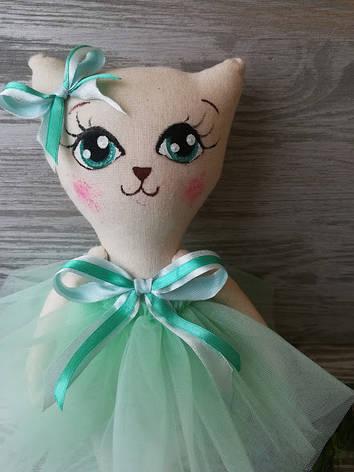Игрушка кошка в нежно-салатовом платье, фото 2