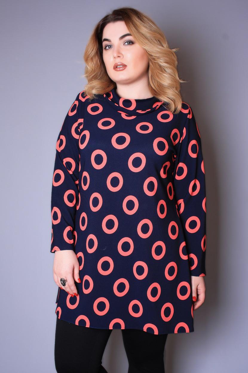 Туника большого размера Круги, (2цв), красивая туника большого размера, одежда больших размеров -  Irmana.com.ua - оптовый интернет магазин одежды в Харькове