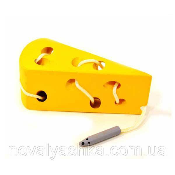 Деревянная игрушка Шнуровка сыр сырок шнурівка сир, MD 0494, 000381