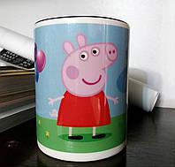 """Чашка детская """"Свинка Пеппа""""  с ручкой в виде животных, фото 1"""