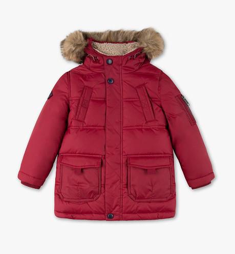 Красный зимний пуховик с опушкой на мальчика 6-7 лет C&A Германия Размер 122