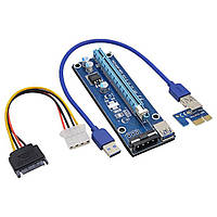 Райзер USB 3.0 PCI-E 1X - 16X Riser для видеокарт 60 см express adapter mining molex майнинг 1060 470 580 480