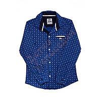 """Рубашка с длинным рукавом для мальчика """"Карман-обманка"""" """"Wanhill"""", синий, 122(122-152), 122 см"""