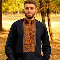 Вышитая мужская рубашка со стойкой и длинным рукавом