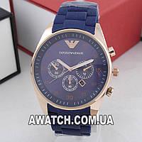 Мужские кварцевые наручные часы Emporio Armani AR-5905 / Емпорио Армани на каучуковом ремешке синего цвета