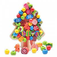 Деревянная игрушка Шнуровка елка ёлочка, Дерев'яна Шнурівка дерево MD 1086, 005825