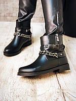 Женские ботинки кожаные на сплошной подошве пряжки и цепи, обувь демисезонная кожаная