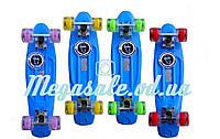 Пенни борд фиш со светящимися колесами (penny board) Fishskateboards: фиолетовый, до 80кг, фото 1