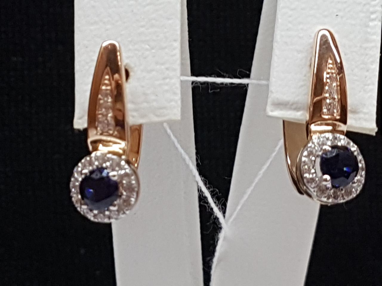 Золотые серьги с синим корундом и фианитами. Артикул 700237-СКСФ