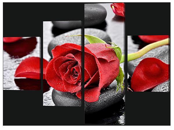 Модульная картина Красная роза на камнях