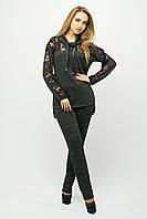 Красивый спортивный костюм Надин черный(44-54)