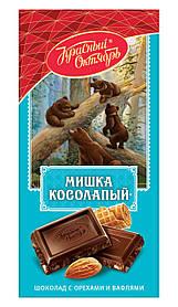 Шоколад Красный Октябрь Мишка Косолапый с орехами и вафлями фабрика 75g
