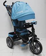 Детский трехколесный велосипед Azimut Crosser T 400 (надувные колеса с фарой), темно-голубой, фото 1