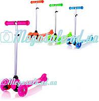 Детский трехколесный самокат Mega Scooter, 4 цвета: регулируемая высота руля, светящиеся колеса