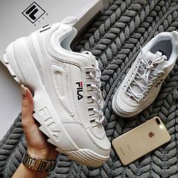 """Женские кроссовки Fila Disruptor II """"White"""" белые на платформе. Живое фото (Реплика ААА+)"""