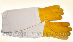 Перчатки с нарукавниками кожаные, фото 2