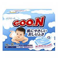 Влажные салфетки для чувствительной кожи  3 x 70 шт Goo.N (733562)