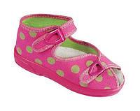 """Тапочки для девочки на застёжке и с открытым носком""""Lucja"""" в горошек """"Zetpol"""", розовый, 25(18-27), 25"""