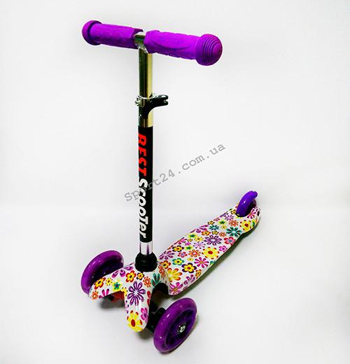 Детский 3 х колесный Самокат Scooter Mini Светящиеся колеса Ромашки (от 2 лет, до 35 кг)