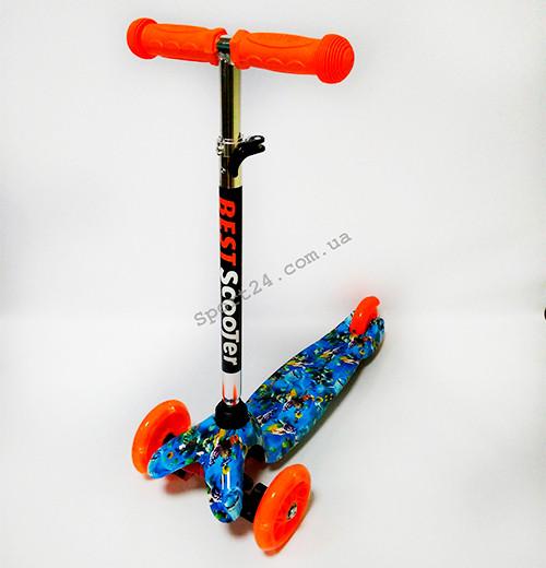 Детский 3 х колесный Самокат Scooter Mini Светящиеся колеса Подводный мир (от 2 лет, до 35 кг)