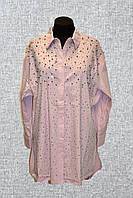 Нарядная женская рубашка с бусинами и камнями