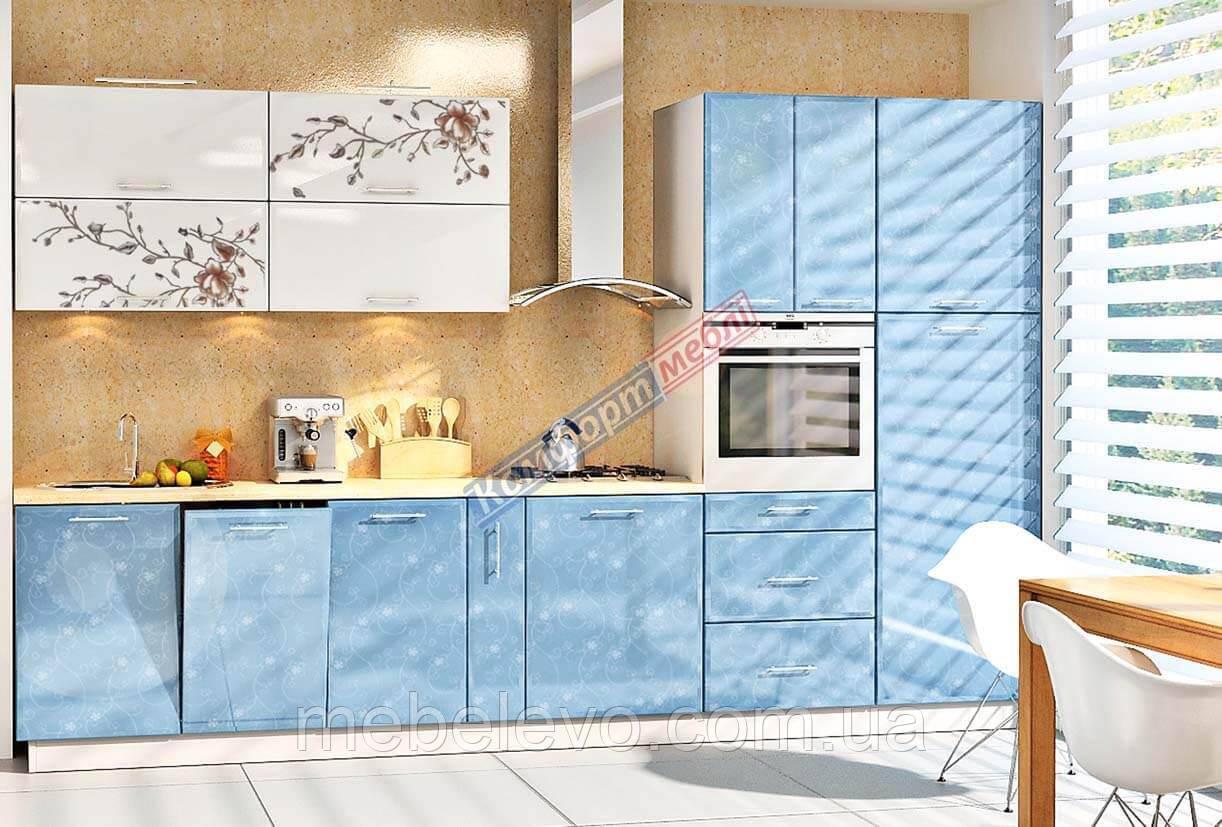 Комфорт Хай-Тек кухня КХ-192 голубой + белый перламутр 3.4 м