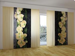 """Панорамные Фото шторы """"Песочная орхидея"""" 270 х 500 см"""
